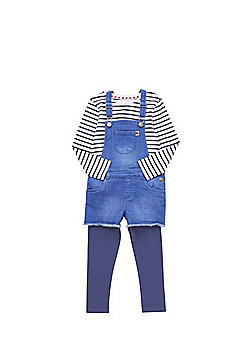 F&F Striped T-Shirt, Shorts Dungarees and Leggings Set - Blue