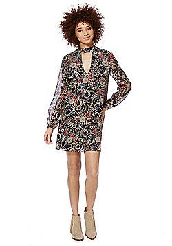 Miss Truth Floral Keyhole Swing Dress - Black 9f2d5b05a239