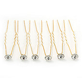 Bridal/ Wedding/ Prom/ Party Set Of 6 Gold Plated Crystal Bead Hair Pins