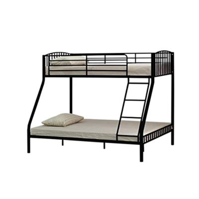 Comfy Living Children's Triple Slatted Metal Bunk Bed Black 3ft Single 4ft6 double with 2 Sprung Mattresses