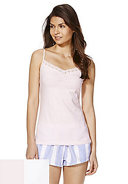F&F 2 Pack of Lace Trim Lounge Camisoles - Pink & White