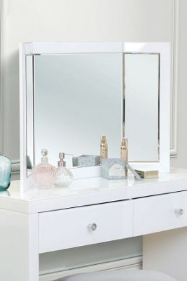Colleta White Triple Folding Mirror