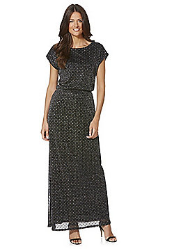 Mela London Glitter Polka Dot Maxi Dress - Black & Gold
