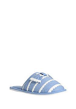 F&F Scallop Trim Slippers - Blue