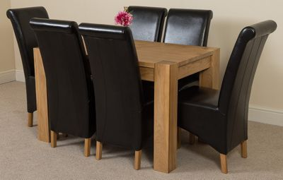 Kuba Chunky Solid Oak 125 cm Dining Table with 6 Black Montana Chairs