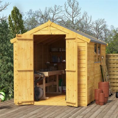 10x6 Overlap Wooden Garden Shed Double Door Windowed Apex Premium Roof Floor Felt - 10ftx6ft