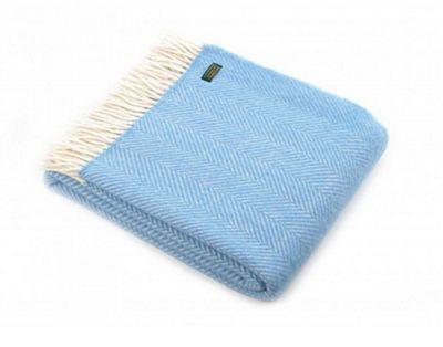 Tweedmill Textiles 100% Pure Wool Blanket Fishbone Design in Sea Blue