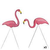 3 Pairs of Authentic Pink Plastic Lawn Flamingo Garden Ornaments by Don Featherstone