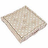 Homescapes Cotton Beige Stars Floor Cushion, 50 x 50 cm
