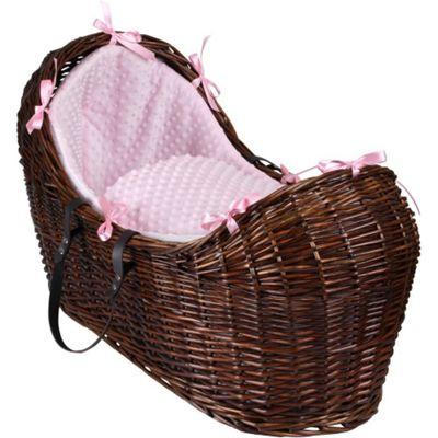 Clair de Lune Dark Noah Pod Moses Basket (Dimple Pink)