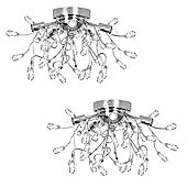 Pair of Shani Five Way Flush Ceiling Light Chandeliers, Chrome
