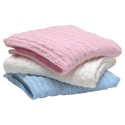 East Coast Silvercloud Chenille Knitted Pink Blanket