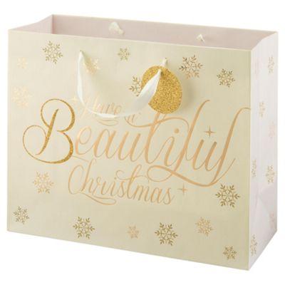 Tesco Snowflake & Wreath Gift Bag, Large
