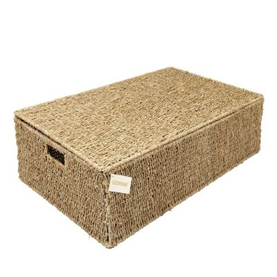 Woodluv Seagrass Under Bed Storage Box Chest Basket - Extra Large