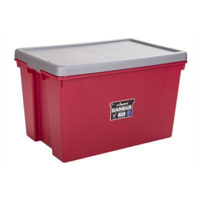 Wham Bam 62L Heavy Duty Box & Lid - Chilli Red/Silver - Pack of 3