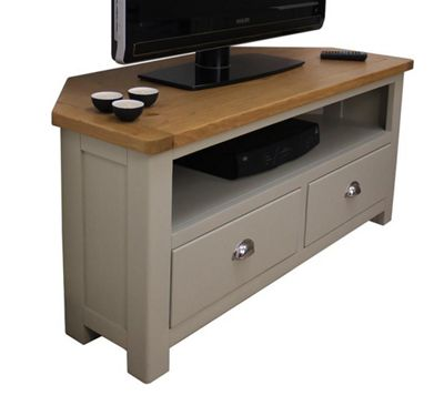 Aspen Painted Oak Corner TV Unit / Sage Grey Oak Corner TV Stand