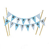 Amazing Buntings - Happy Birthday - Large Blue Flags Decorative Cake Topper