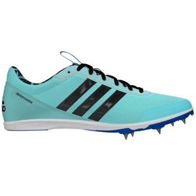 adidas Distancestar Womens Running Spike Trainer Shoe Mint Blue - UK 5
