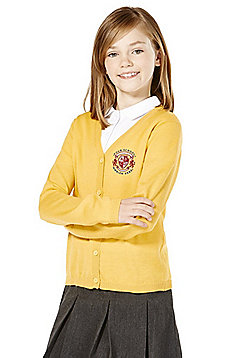 Girls Embroidered Wool Blend School Cardigan - Gold