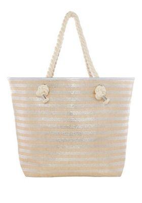 F&F Metallic Stripe Rope Handle Tote Bag Silver One Size