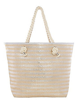 F&F Metallic Stripe Rope Handle Tote Bag - Silver