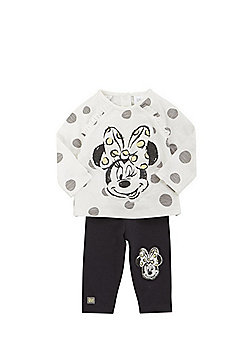 Disney Minnie Mouse Long Sleeve T-Shirt and Leggings Set - Cream & Grey