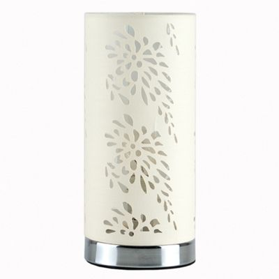 Touch Table Lamp, Chrome & Laser Cut Cream Shade