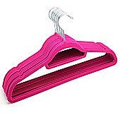 10 Hot Pink Non Slip Flocked Velvet Hangers