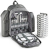 VonShef 4 Person Picnic Backpack Bag Set - Grey