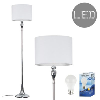 Faulkner 125cm Spindle LED Floor Lamp - Chrome & White