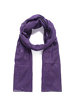 Purple Metallic Foil Wavy Dotted Line Scarf