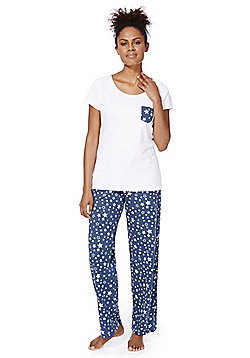 F&F Star Print Pyjamas - Blue & White