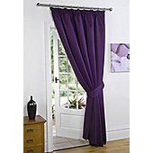 Dreamscene Thermal Pencil Pleat Blackout 1 Door Curtain Ready Made Lined - Plum 66x84