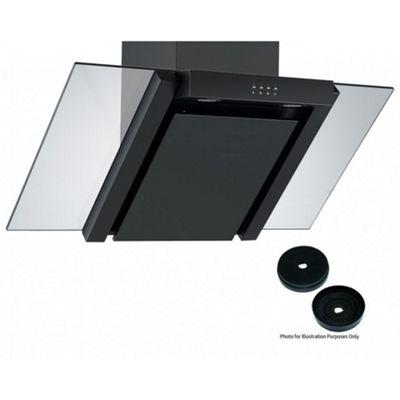 Cookology ANG905BK Designer Extractor Fan   90cm Angled Glass Kitchen Chimney Cooker Hood in Black & Carbon Filters