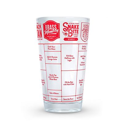 Fred Good Measure Decorative Beer Recipe Drinking Glass - 475 ml/16 Oz.