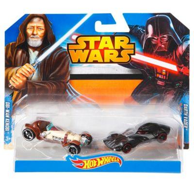 Hot Wheels Star Wars Character Car 2-Pack, Obi-Wan Kenobi and Darth Vader