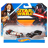 Hot Wheels Star Wars Character Car 2-Pack, Obi-Wan Kenobi and Darth Vader