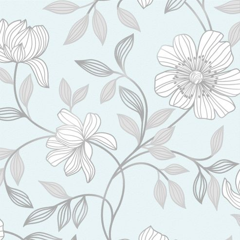 Superfresco Camille Floral Duck Egg Wallpaper