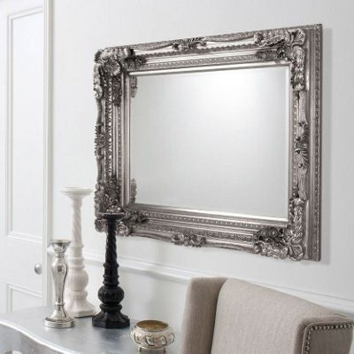Large Silver Rectangle Antique Style Big Wall Mirror 4Ft X 3Ft 120Cm X 90Cm