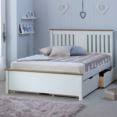 Happy Beds Chester Wood 2 Drawer Storage Bed - White and Oak - 4ft6 Double