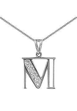 Sterling Silver Cubic Zirconia Identity Pendant - Initial M - 18inch Chain