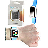 Navitech - 38mm Clear Smart Cover Case and Tempered Glass Screen Protector for the Apple Watch