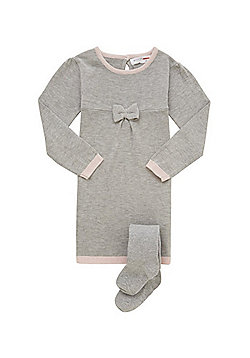 Minoti Bow Jumper Dress with Sparkle Tights - Grey