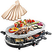 VonShef 8 Person Stone Raclette Grill - 1500W with 8 Spatulas