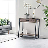 VonHaus Rustic Console Table With Drawer - Modern Industrial Design