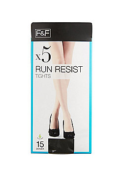 F&F 5 Pack of 15 Denier Run Resist Tights with Lycra® - Black
