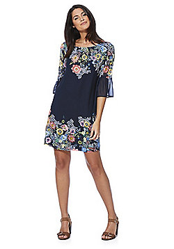 Yumi Floral Bell Sleeve Mini Dress - Navy