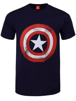 Marvel Comics Captain America Shield Distressed Navy Blue Men's T-shirt