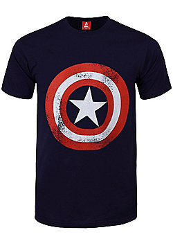 Marvel Comics Captain America Shield Distressed Navy Blue Men's T-shirt - White
