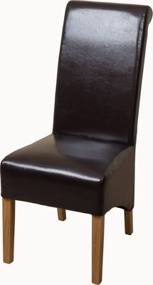 Montana Scroll Back Brown Leather Dining Chairs